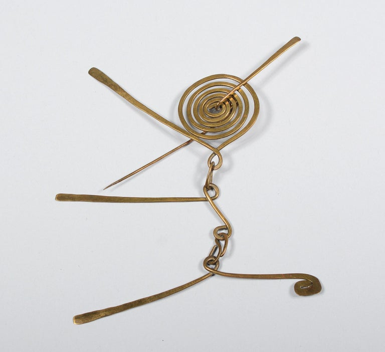 Mid-Century Modern Claire Falkenstein Articulated Brooch and Earrings For Sale