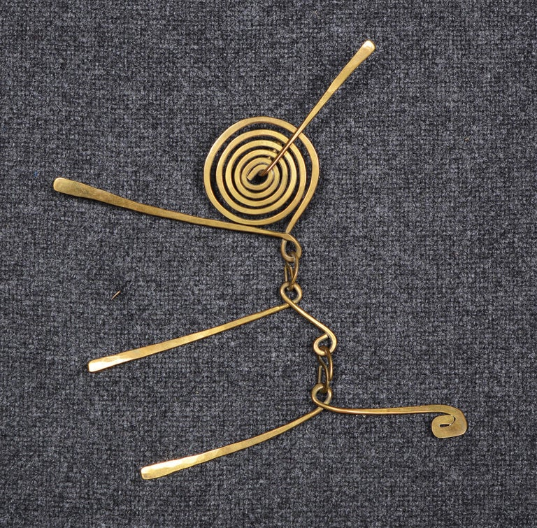 Mid-20th Century Claire Falkenstein Articulated Brooch and Earrings For Sale