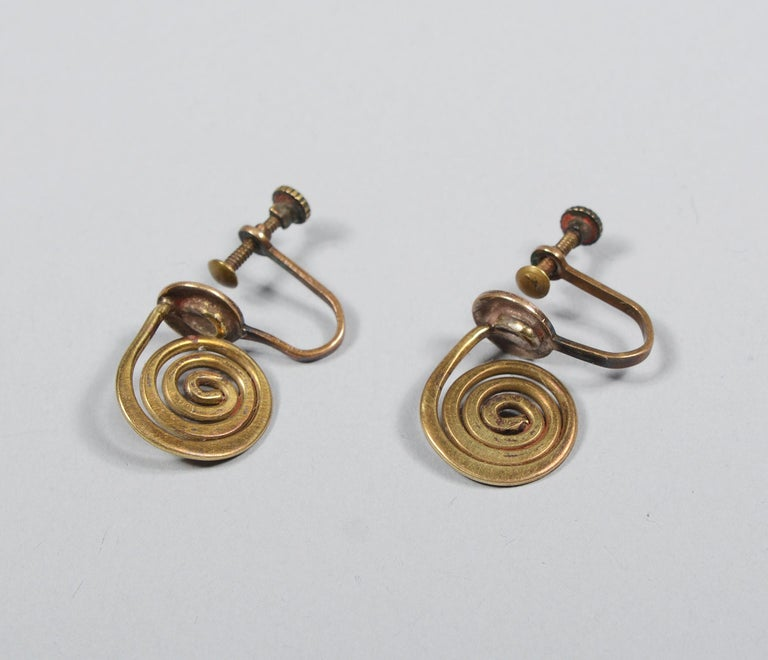 Brass Claire Falkenstein Articulated Brooch and Earrings For Sale