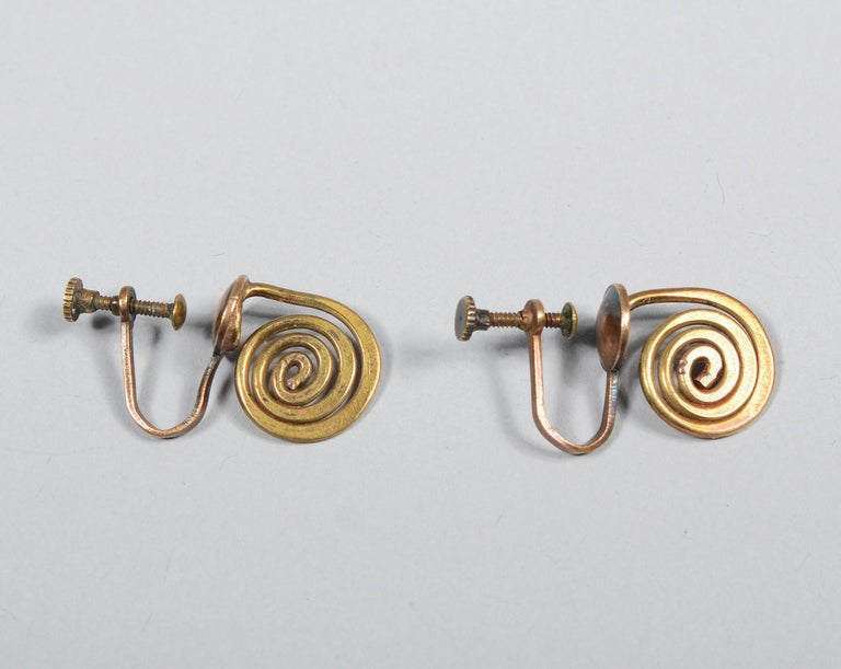 Claire Falkenstein Articulated Brooch and Earrings For Sale 1