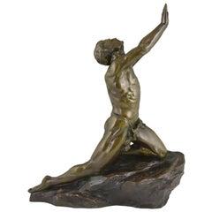 Claire Jeanne Roberte Colinet Art Deco Bronze Sculpture Male Nude Imploration