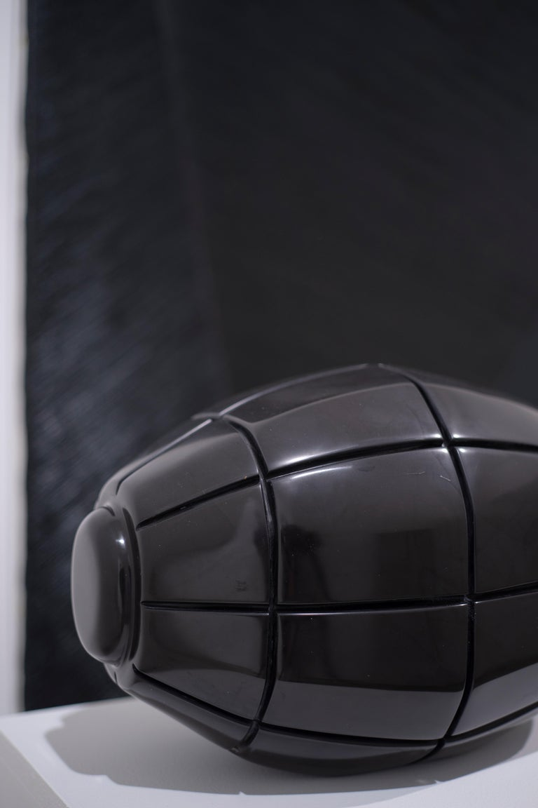 Black Marble Grenade X, hand carved black marble For Sale 1