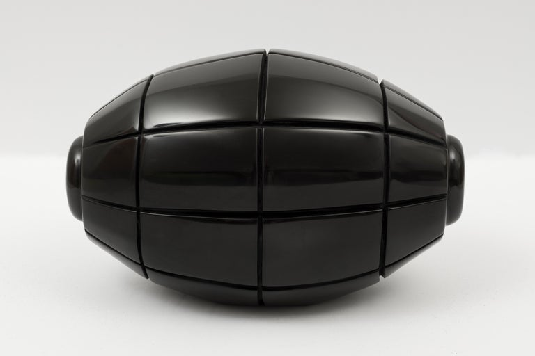 Claire Lieberman Abstract Sculpture - Black Marble Grenade X, hand carved black marble