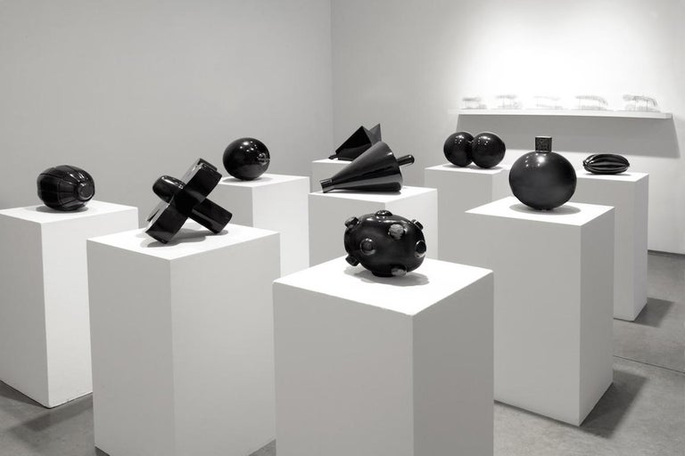 Radio, hand carved black marble - Contemporary Sculpture by Claire Lieberman