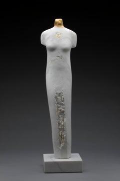 Torso Helena by Claire McArdle. Italian calacatta marble figurative sculpture.
