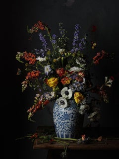 After Severin Roesen No. 0305 - Still life, flower bouquet blue & white vase
