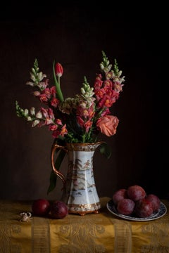 Floral Still Life No. 1114 - Flower bouquet in gilded vase with plums & crab