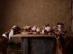 Pink Transfer-ware & Felix No. 3387 - Surreal tea still life w/ goat & tarantula
