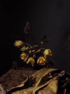 Rattlesnake and Tulips -  Dark golden yellow tulip bouquet w/ snake & moths