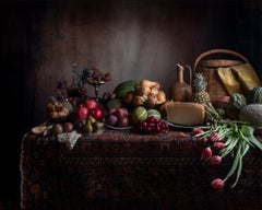 Table No. 1534 - Still life w/ fruit & vegetable spread, grapes, cheese, tulips