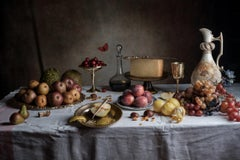 Table Still Life No. 1015 - Feast of pears, lemons, grapes, cherries & cheese