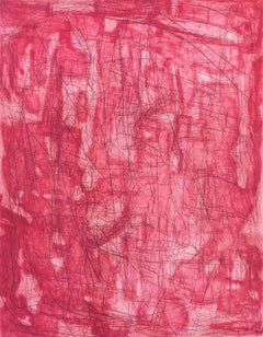 """Otherwhere (Geranium)"", abstract etching, aquatint monoprint, pink, red tones."