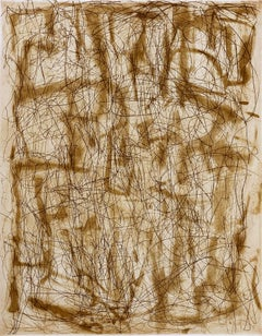 """Umber Line and Ghost"", abstract linear etched monoprint, burnt umber, sepia."