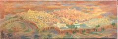 Jerusalem Old City Oil Painting Cityscape by Noted Hungarian Israeli Artist