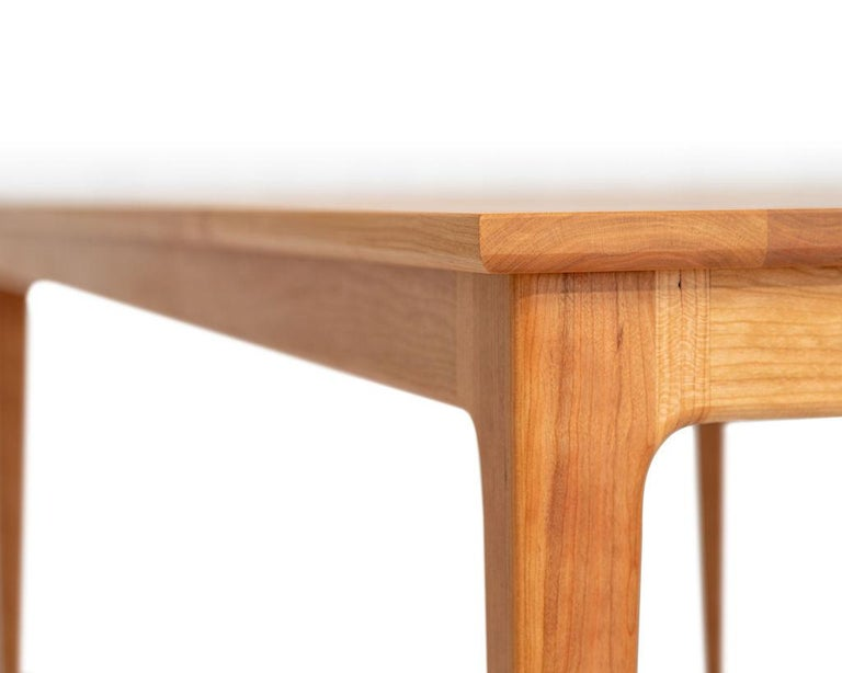 Contemporary Claire Table, Shaker Modern Cherry Dining Table with Sculpted Joinery For Sale