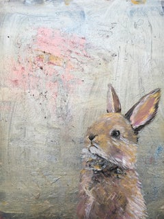 Bunny on Silver Oil Paint Canvas John Lewis Childrens illustrator Signed