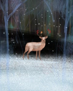 Christmas Deer xmas scene red robin diamond dust signed woods now signed print