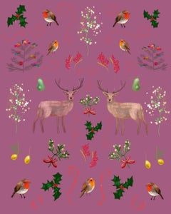 Deer Pattern mistletoe holly red robin berries  xmas colours pear print