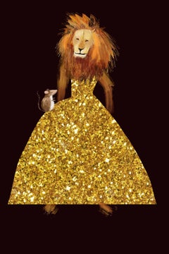 Mr Gold Dress limited edition print lion in gold dress limited edition print
