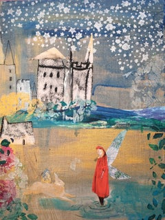Red Cloak And Castle, Original, collage, pen, metallic paint, stencil, pearlised
