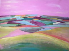 Rolling Hills Original, Acrylic and House hold Paint, Rainbow Pastels, Signed