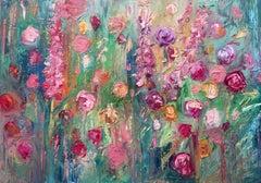 Romantic Summer, Original, Oil Paint Canvas, Textured, Soft pastel colours Sign
