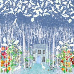 Snow House limited edition print xmas ideas stars dark blue sky signed