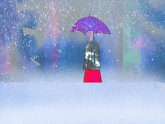 Snowy Day Limited edition print of 200 blue purple girl umbrella in snow signed