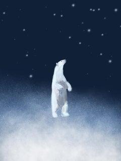 White Bear limited edition print xmas ideas stars dark blue sky signed