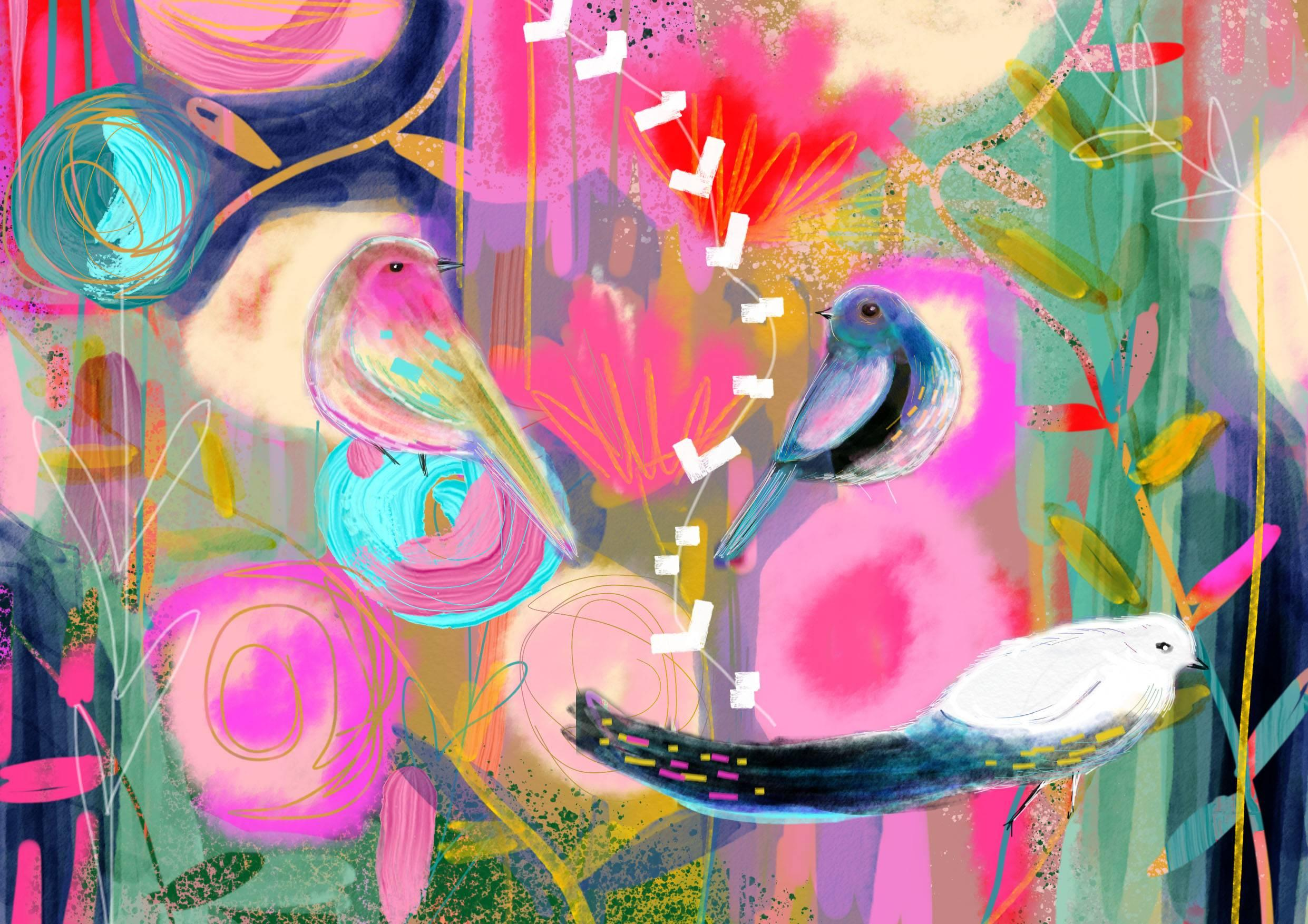 Floral Journey, Digital Print Limited Edition of 20, Bespoke Diamond Dust Signed