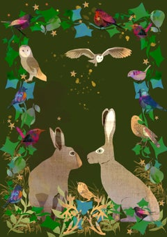 Two Hares Love hand finished with diamond dust Signed