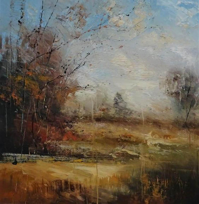 Claire Wiltsher, Beyond the Trees - Original Painting - Landscape painting - Brown Landscape Painting by Claire Wiltsher