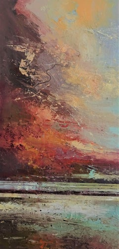 Crimson Sky - contemporary abstract/landscape oil painting on canvas