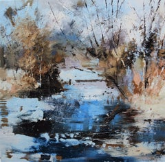 Fragile - contemporary abstract winter landscape nature oil painting