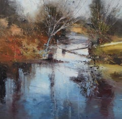 Ice Trails 2, Landscape painting with river , Autumnal , Impressionist style