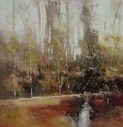 Intimate Forest V - contemporary oil abstract landscape painting