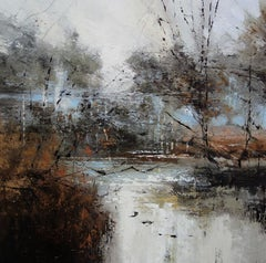 Riverbank - contemporary abstract landscape river nature oil painting