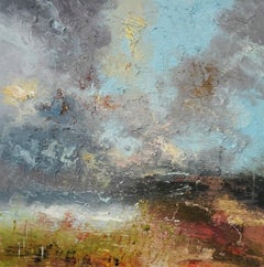 Summer Cloud Burst - contemporary abstract landscape oil painting on canvas