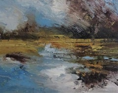 Winter New  Forest - contemporary abstract landscape oil painting