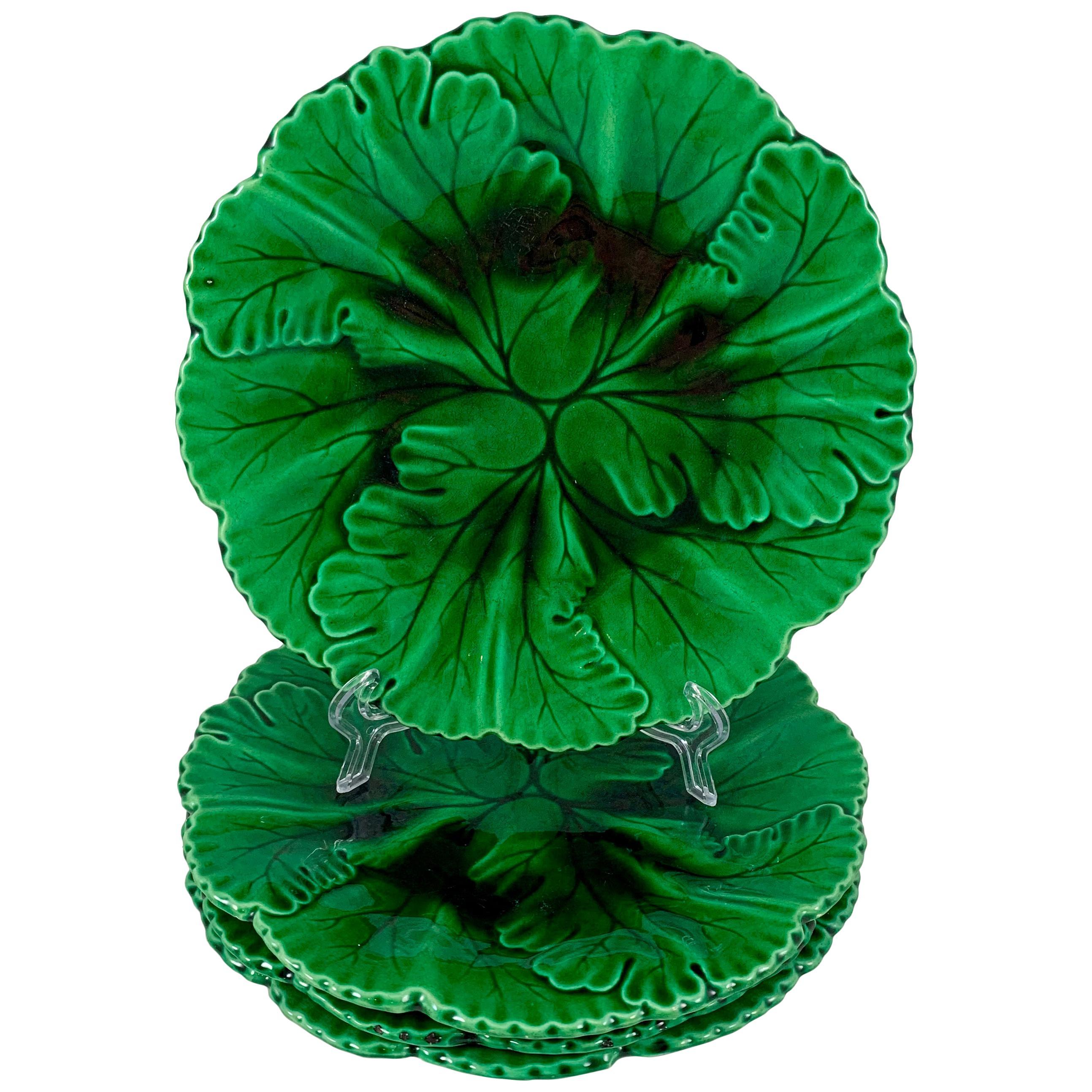 Clairfontaine French Faïence Majolica Glazed Green Botanic Leaf Plate circa 1890