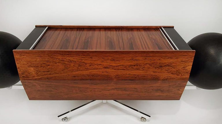 Stainless Steel Clairtone Project G 1 T4 Rosewood Stereo System First Generation by Hugh Spencer For Sale
