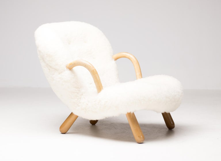 """Polished """"Clam"""" Easy Chair Designed by Philip Arctander, Denmark, 1944 For Sale"""