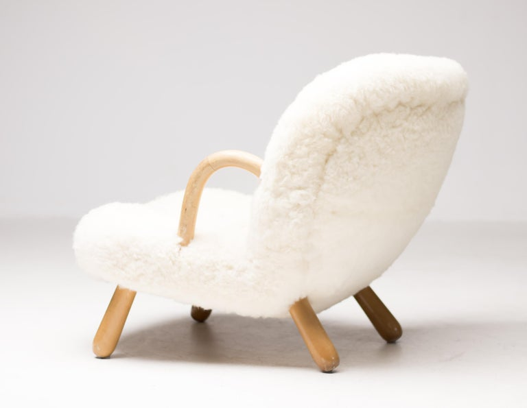 """Birch """"Clam"""" Easy Chair Designed by Philip Arctander, Denmark, 1944 For Sale"""
