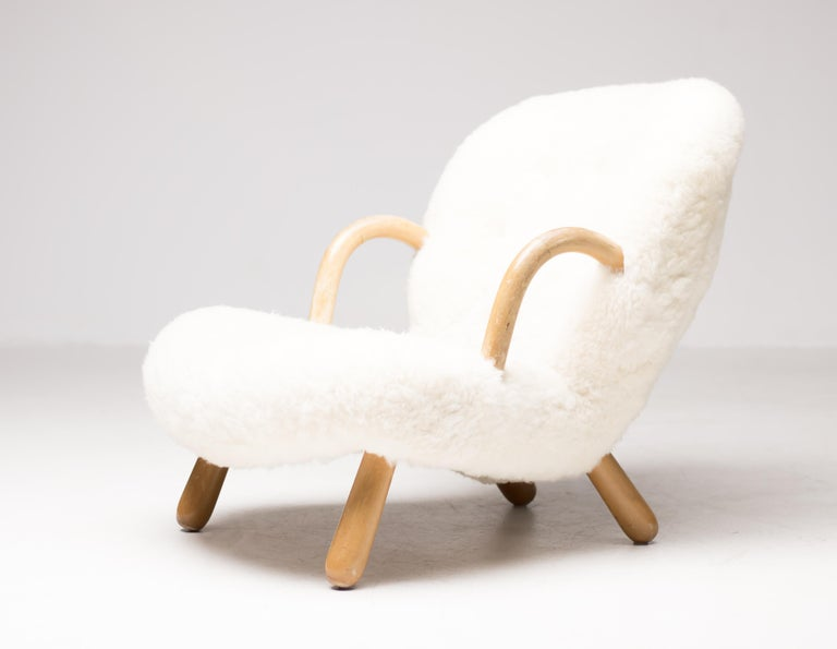 """""""Clam"""" Easy Chair Designed by Philip Arctander, Denmark, 1944 For Sale 1"""