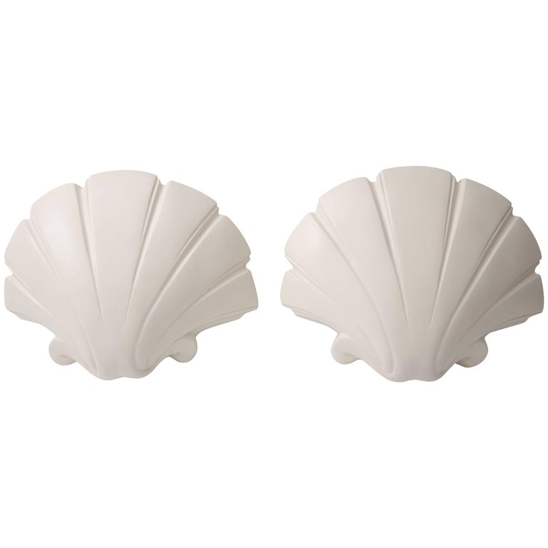 Clam Shell-Form Wall Sconces For Sale