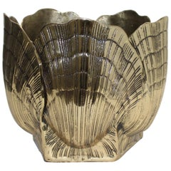 Clam Shell Polished Brass Cachepot or Ice Bucket