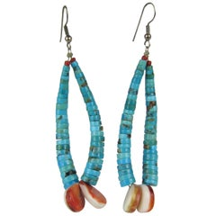 Clam Shell Turquoise Coral earrings Jacla Santo Domingo Pueblo Heishe