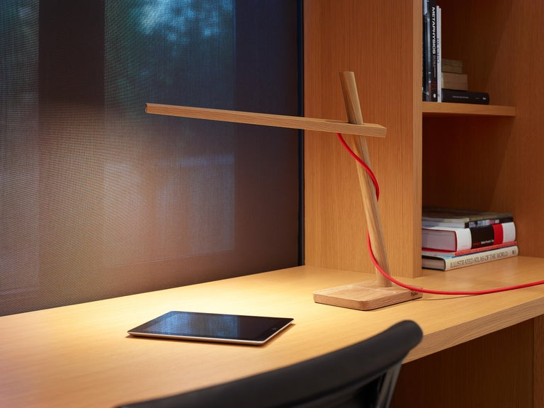 Modern Clamp Mini Table Lamp in White Oak by Pablo Designs For Sale