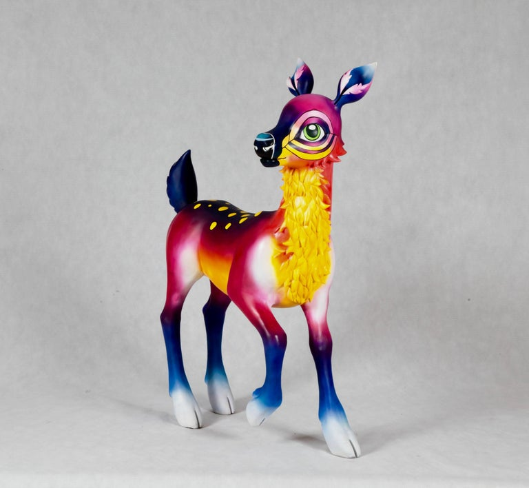 A fibreglass resin sculpture made by 3D model maker Sally Charlton and artist Clara Bacou. Sculpted in wet clay, moulded in a silicone, fibreglass jacket mould and cast in fibreglass resin. It is a 3D rendition of the anthropomorphic deer character