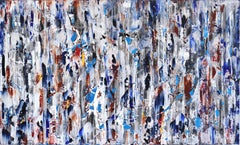 Balboa Blues - Large Horizontal Colorful Textured Blue Painting